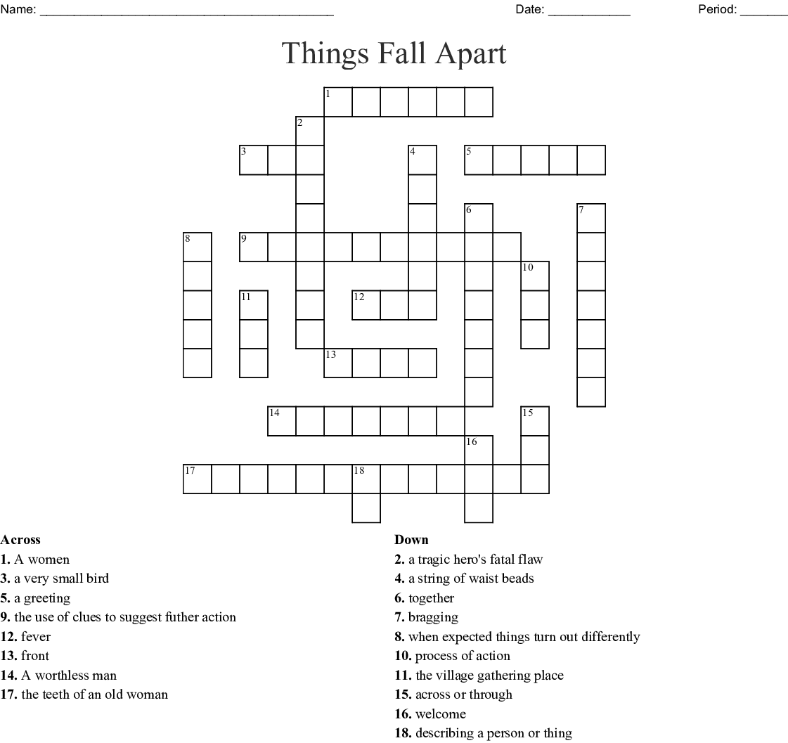 """Vocabulary Words From """"Things Fall Apart"""" Crossword"""