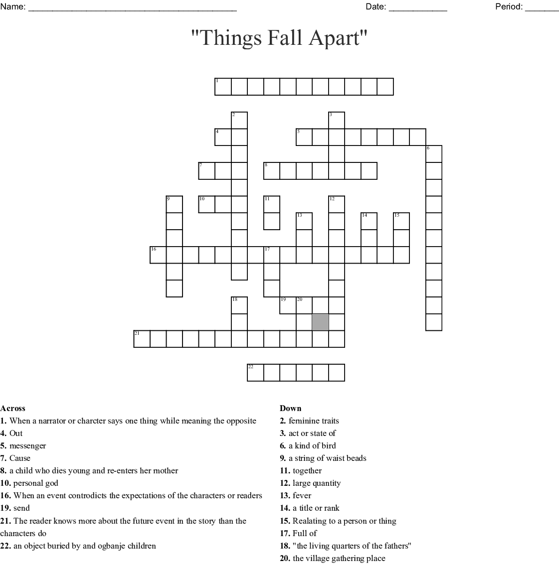 """All Things Fall Apart Plot: Vocabulary Words From """"Things Fall Apart"""" Crossword"""