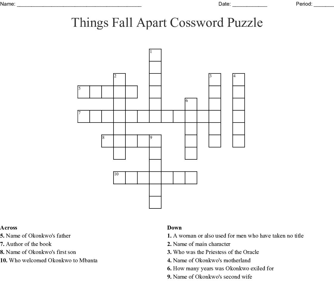 All Things Fall Apart Plot: Things Fall Apart Word Search