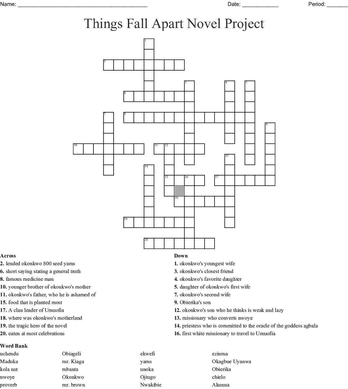 Things Fall Apart Word Search