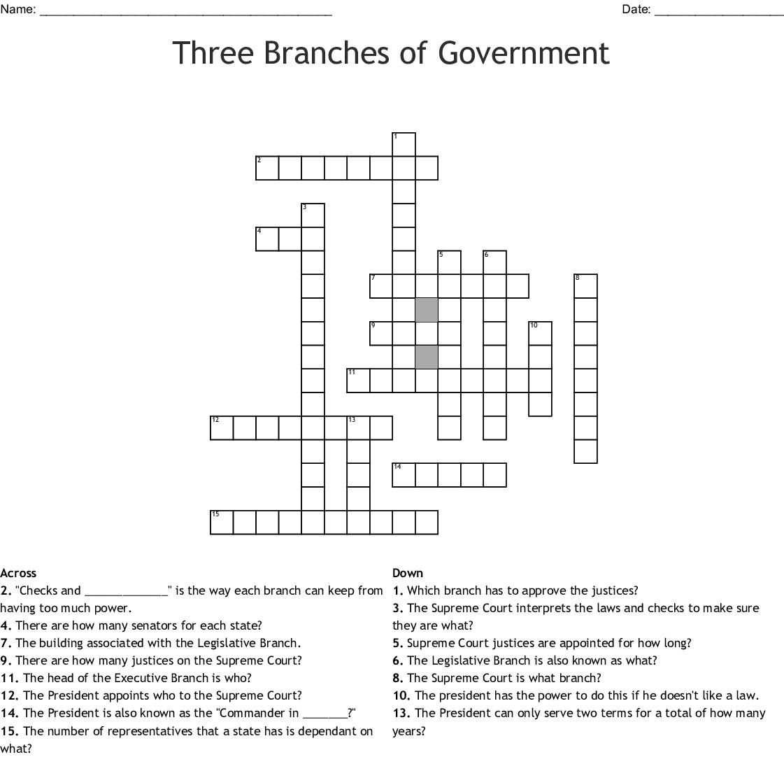 U.S. Government Crossword - WordMint