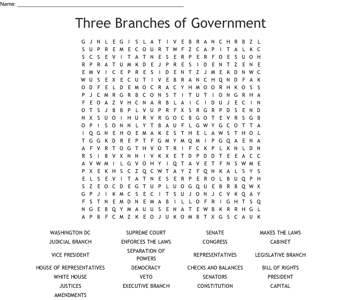 Three Branches of Government Word Search - WordMint