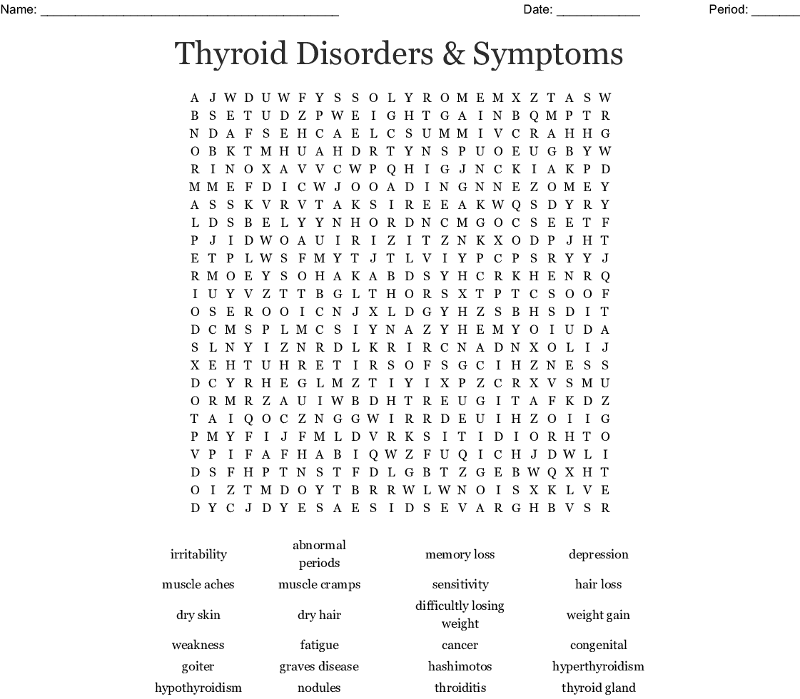 Thyroid Disorders Symptoms Word Search Wordmint