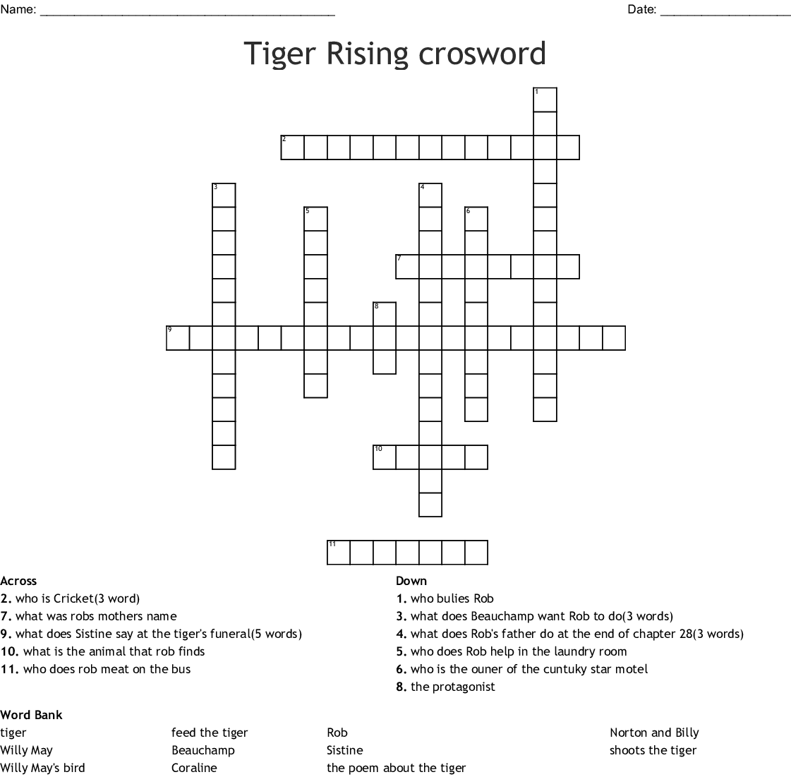 The Tiger Rising Crossword - WordMint