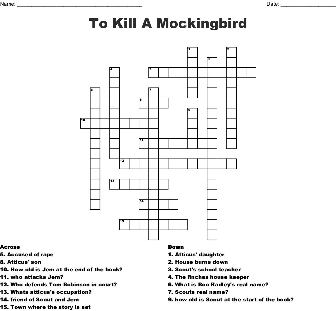 To Kill A Mockingbird Crossword - WordMint