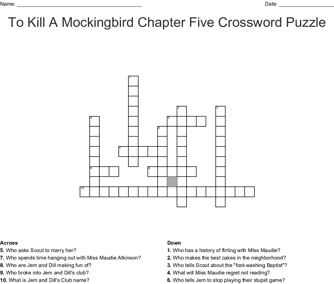 To Kill A Mockingbird Chapter Five Crossword Puzzle Crossword