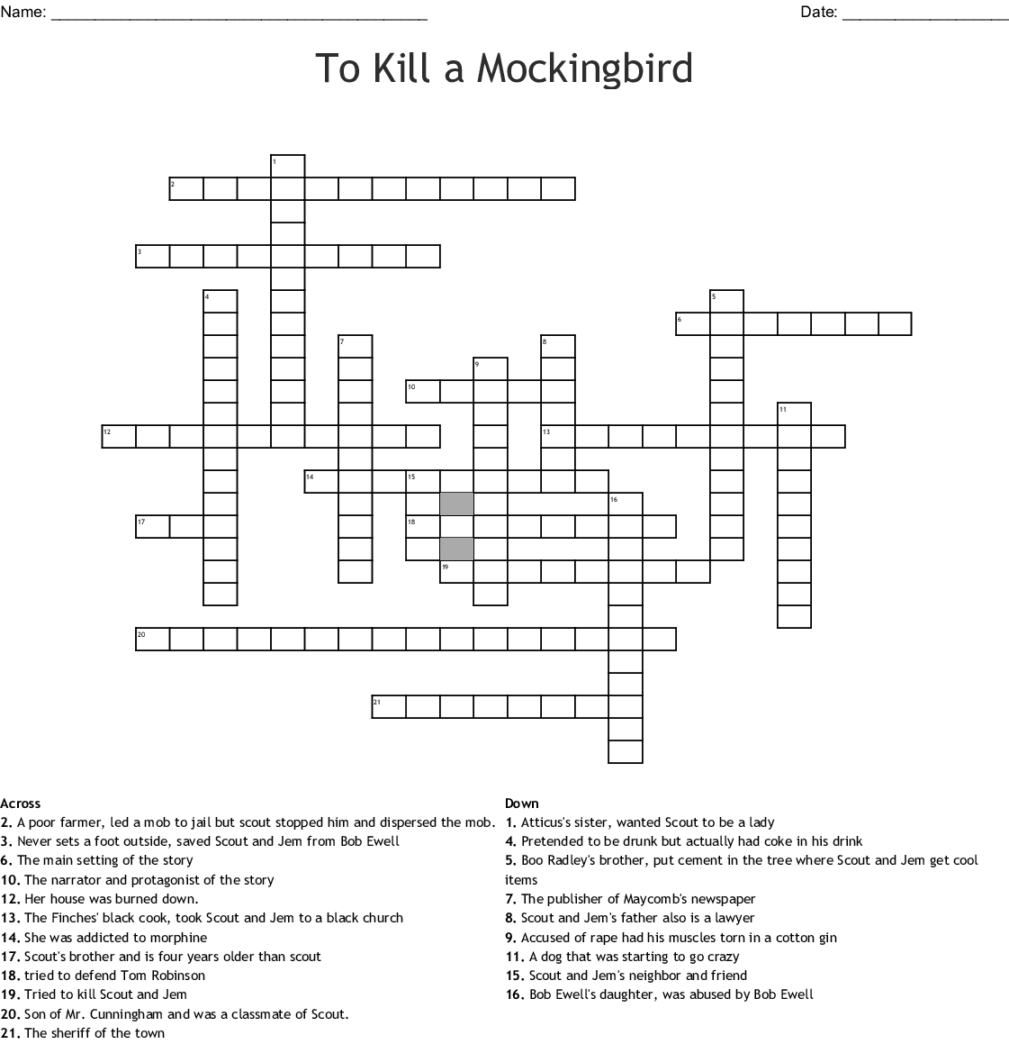To Kill a Mockingbird: Part I Crossword - WordMint