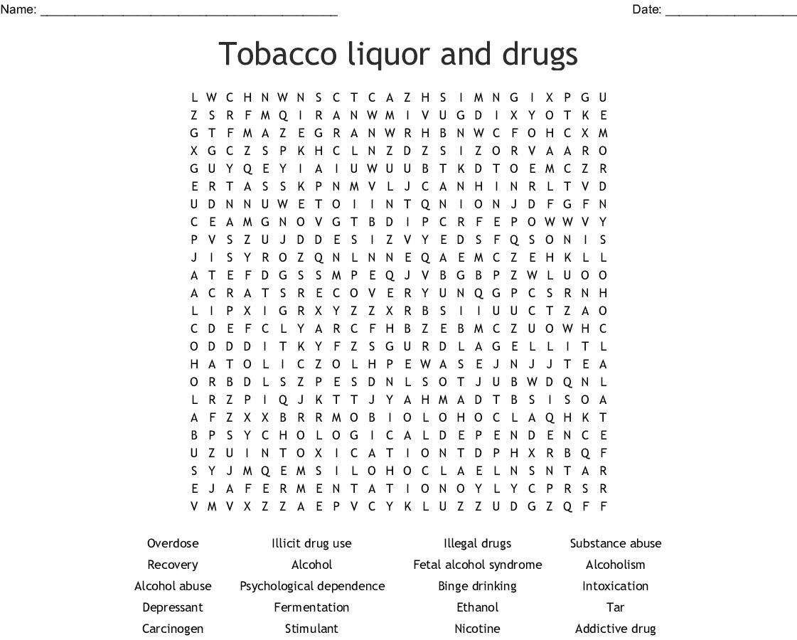 Drug & Alcohol WordSearch