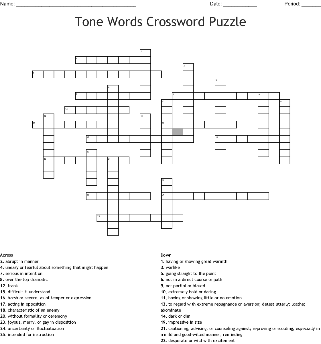 Tone Words Crossword Puzzle Wordmint