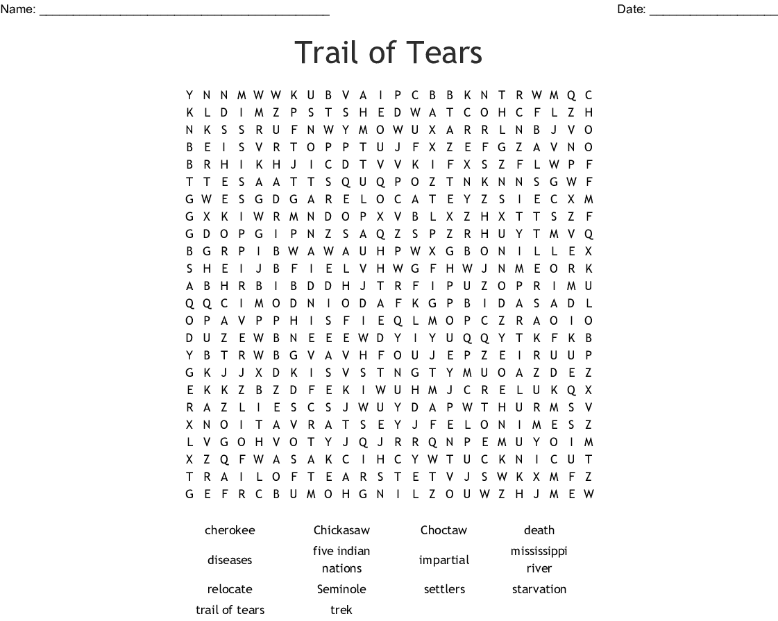 Trail of Tears Word Search - WordMint