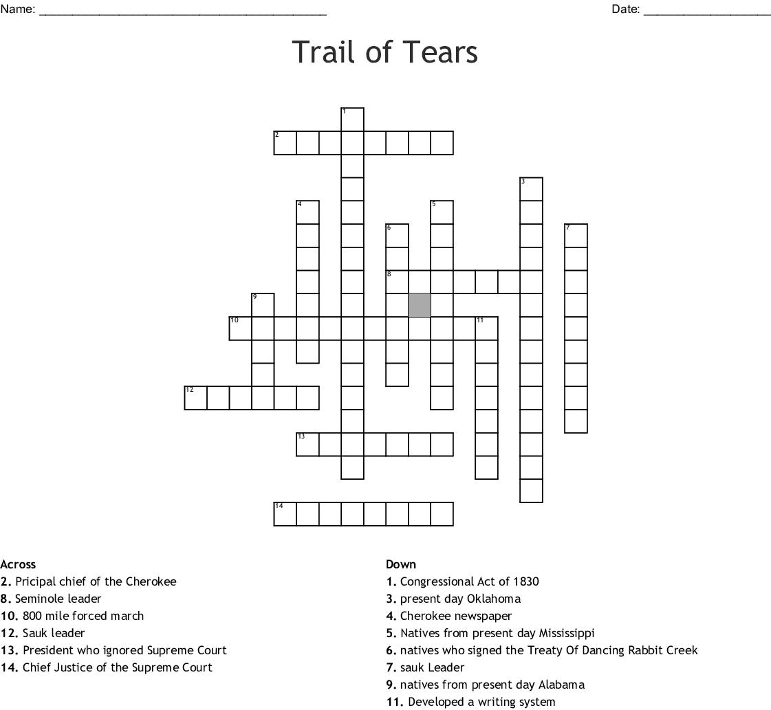 Trail of Tears Crossword - WordMint