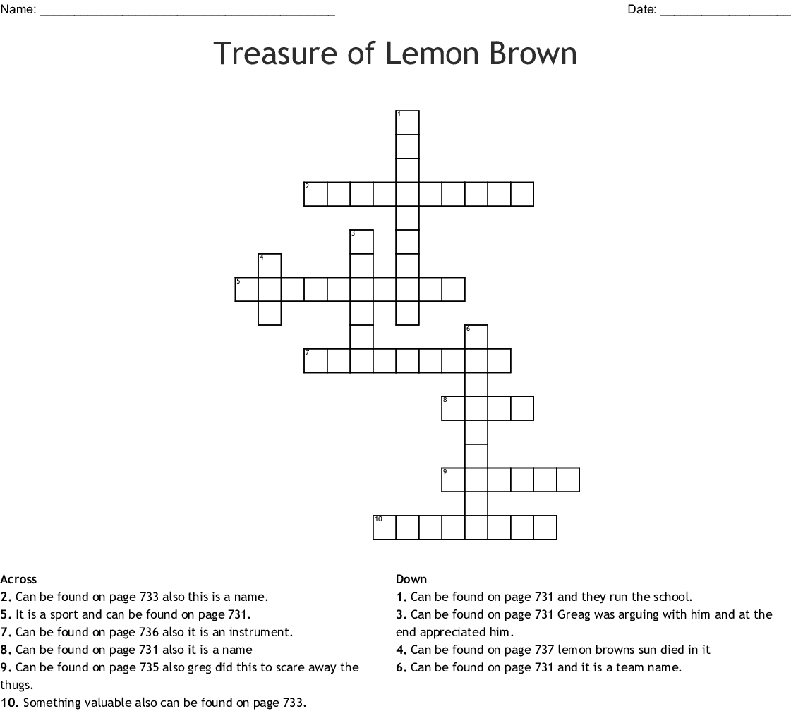 Lemon Brown Crossword - WordMint