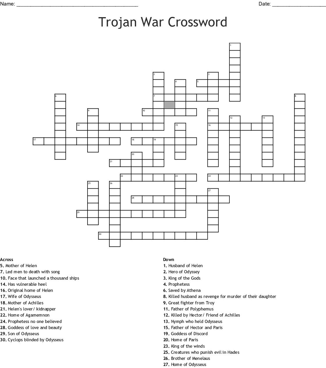 Black Ships Before Troy Crossword - WordMint