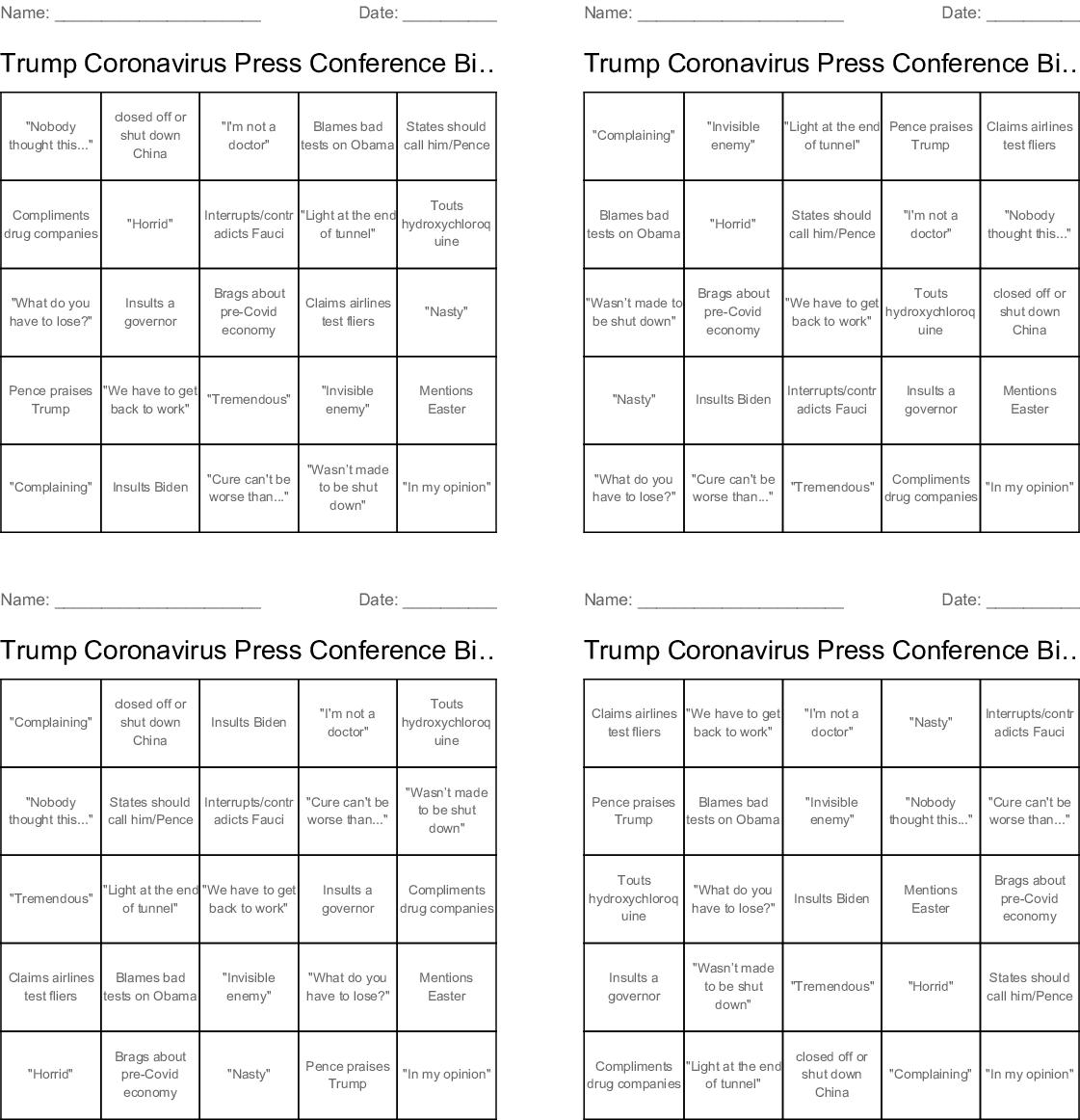 Presidential Debate #1 2020 Bingo Cards - WordMint