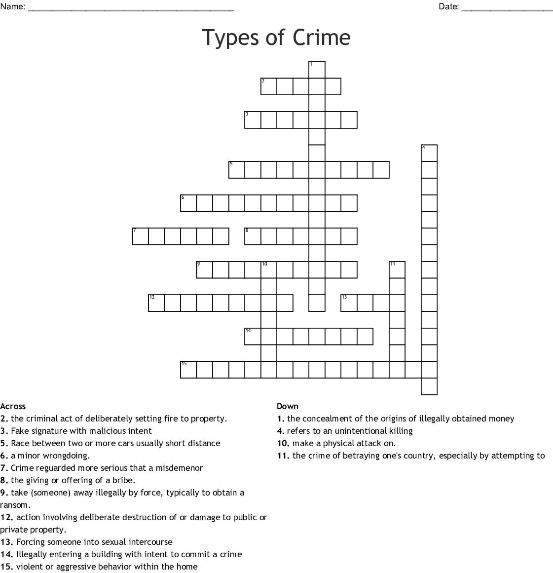 Types Of Crime Crossword Wordmint
