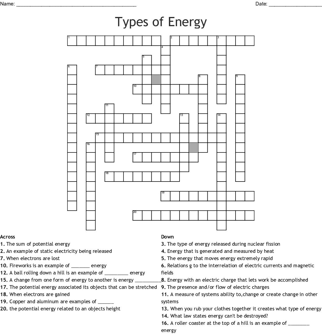 Types Of Energy Crossword Wordmint