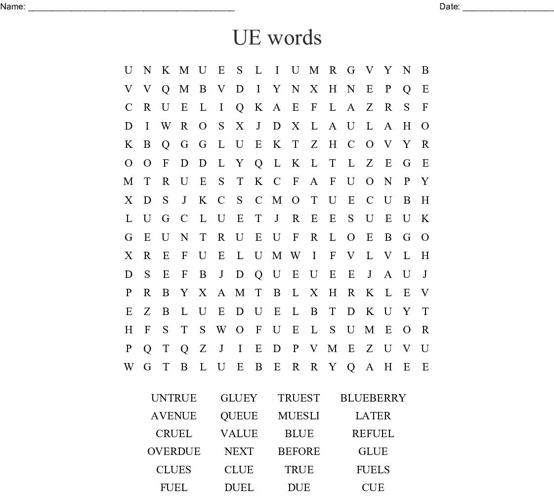 ue u-e Word Search - WordMint