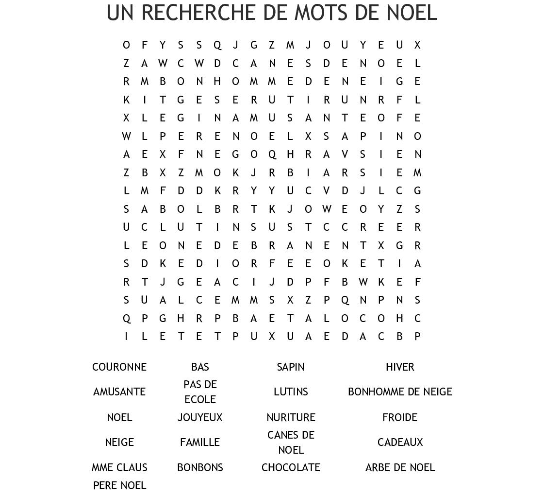 Un Recherche De Mots De Noel Word Search Wordmint