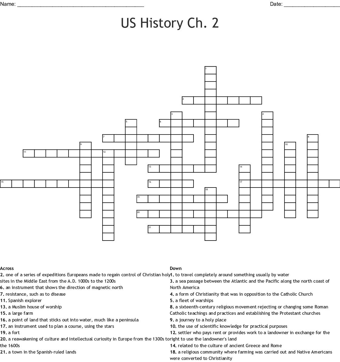 US History Ch. 2 Crossword - WordMint