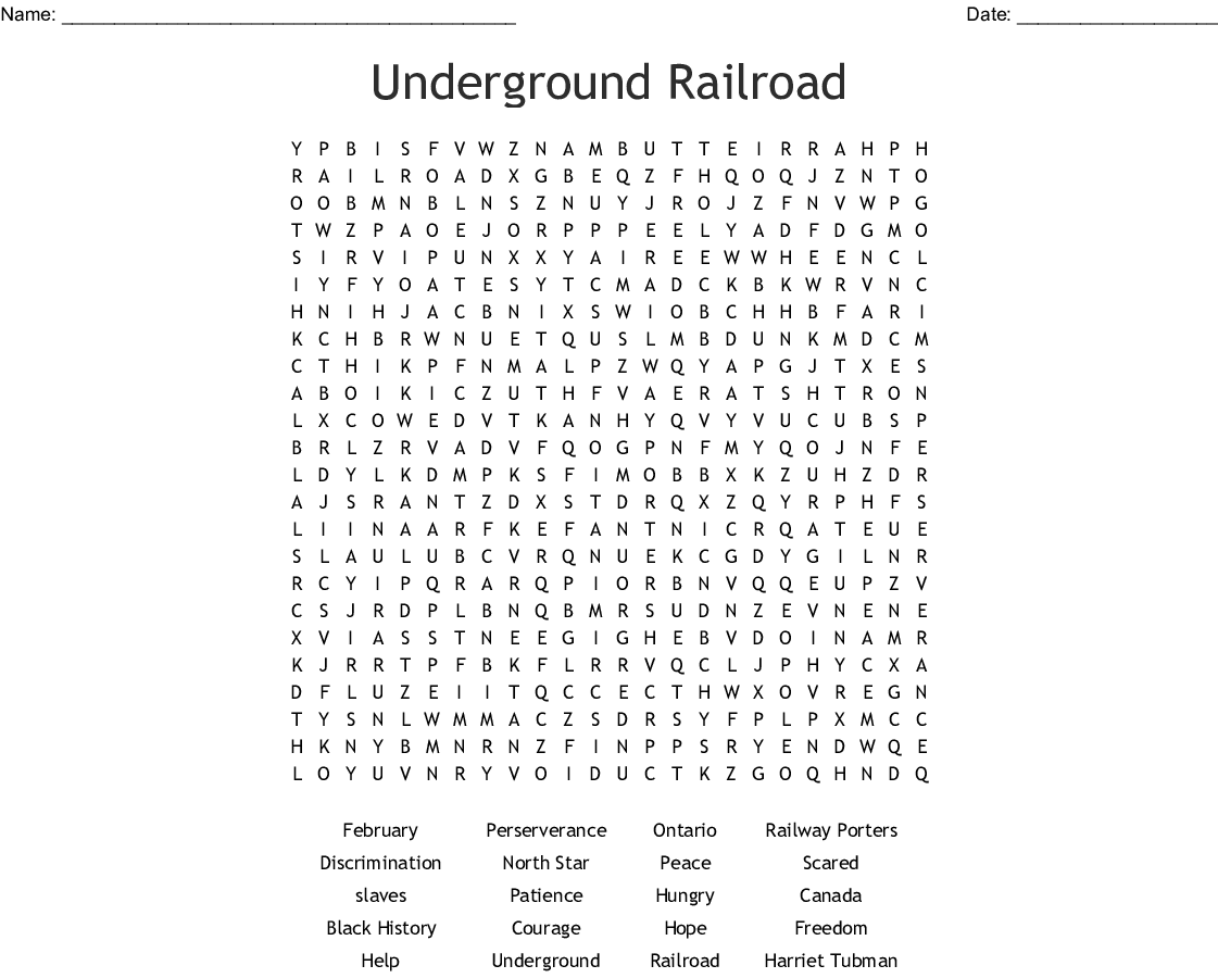 Underground Railroad Word Search - WordMint