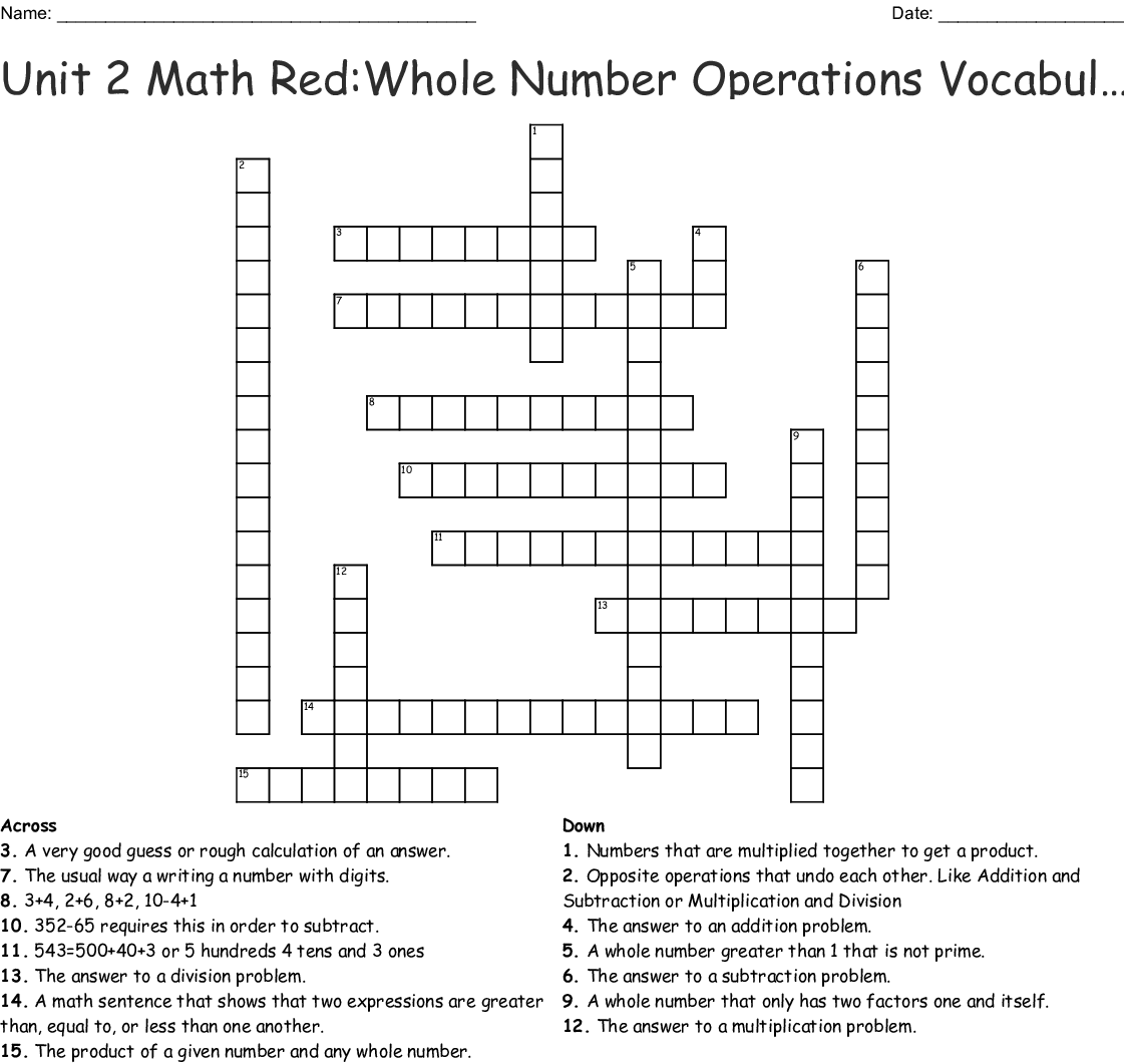 Unit 2 Math Red Whole Number Operations Vocabulary Crossword Wordmint