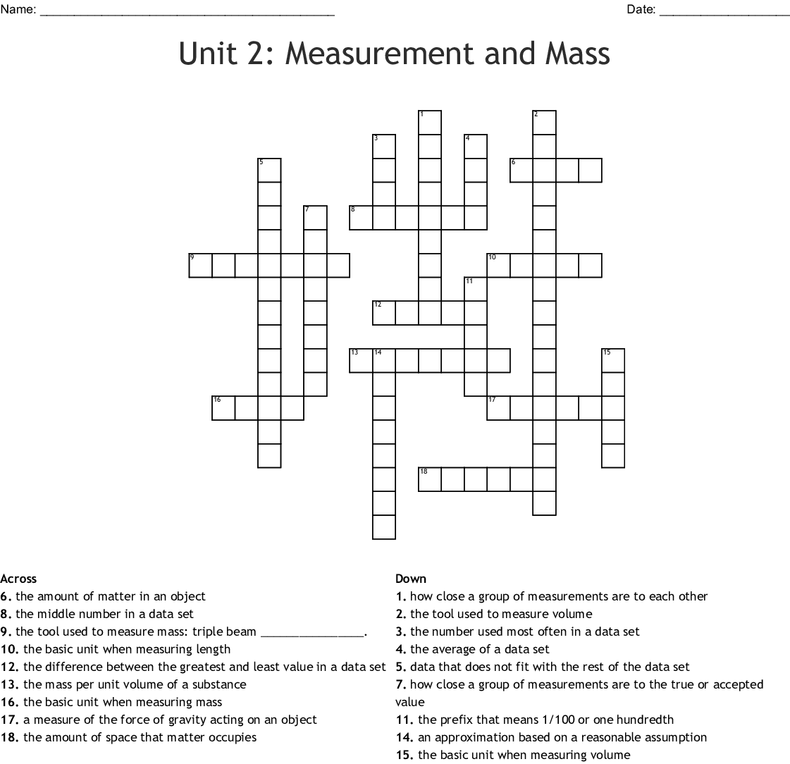 Unit 2 Measurement And Mass Crossword Wordmint