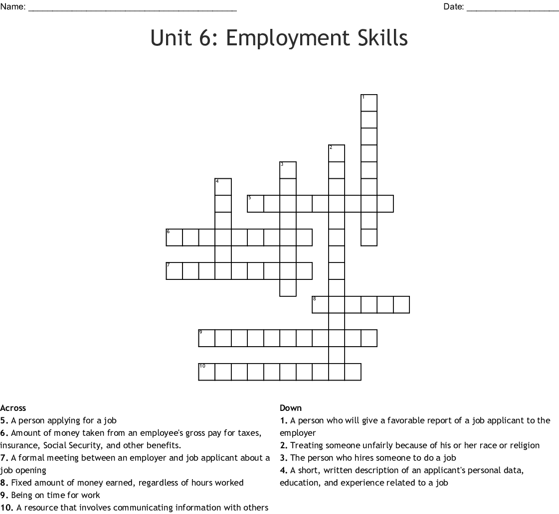 Unit 6 Employment Skills Crossword Wordmint