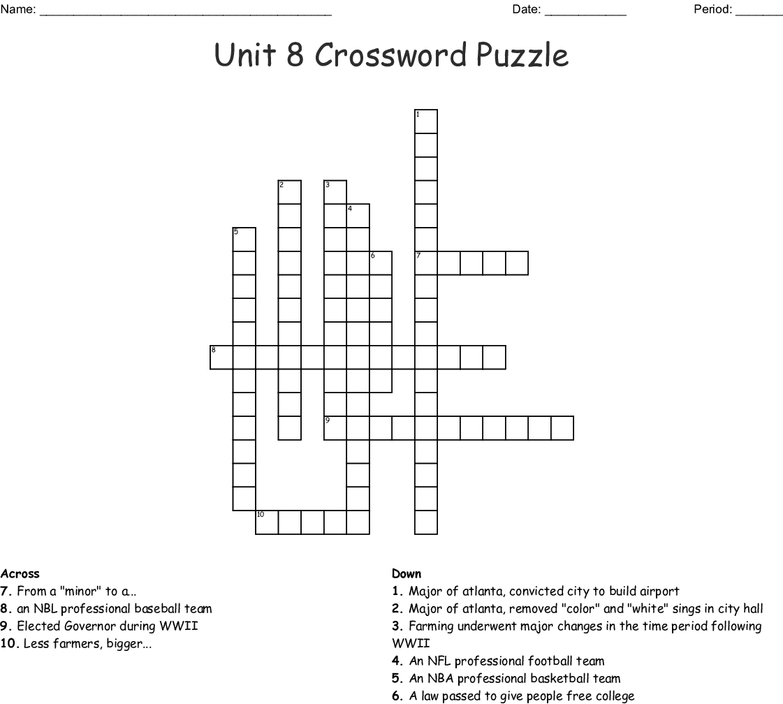 Unit 8 Crossword Wordmint