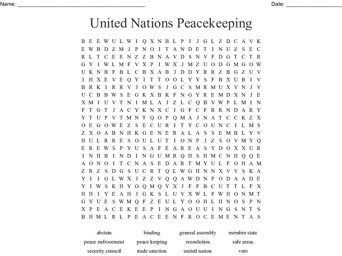 United Nations Peacekeeping Word Search - WordMint