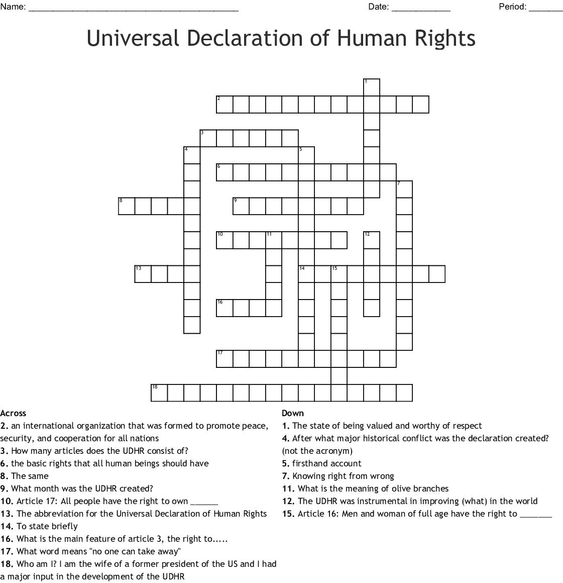 Universal Declaration Of Human Rights Crossword Wordmint