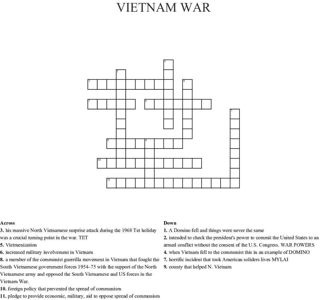 Vietnam War crossword puzzle - WordMint