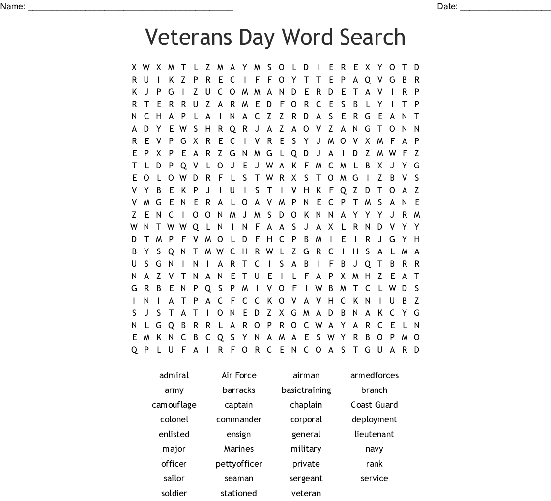 This is a graphic of Selective Veterans Day Word Search Printable