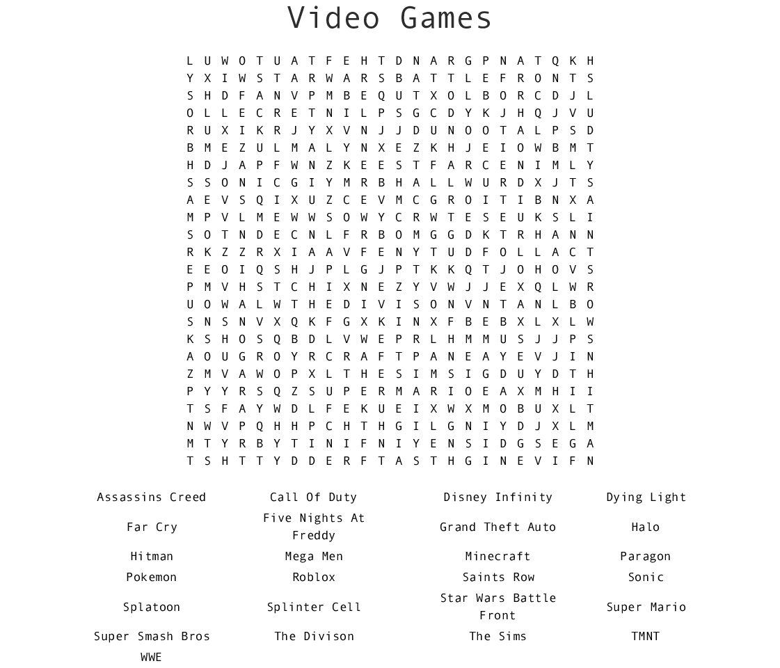 image about Printable Word Games identify Online video Game titles Term Glimpse - WordMint