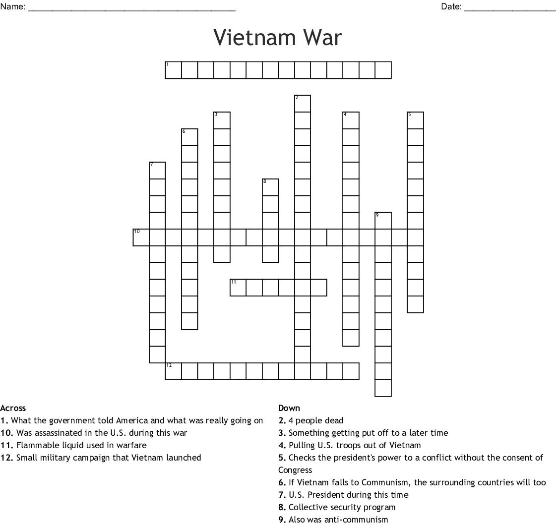 Vietnam War Crossword - WordMint
