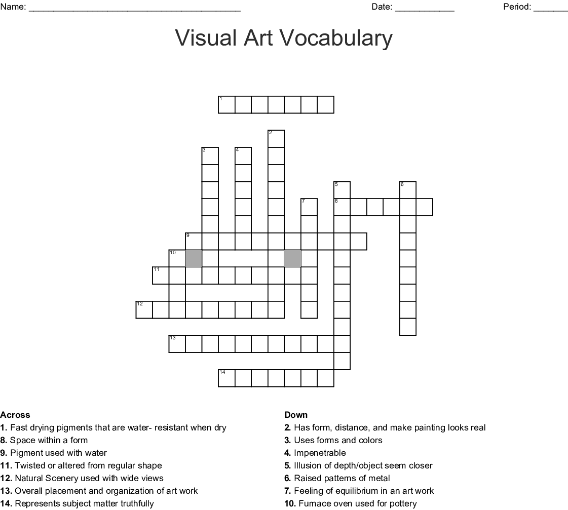 Art Vocabulary Crossword - WordMint