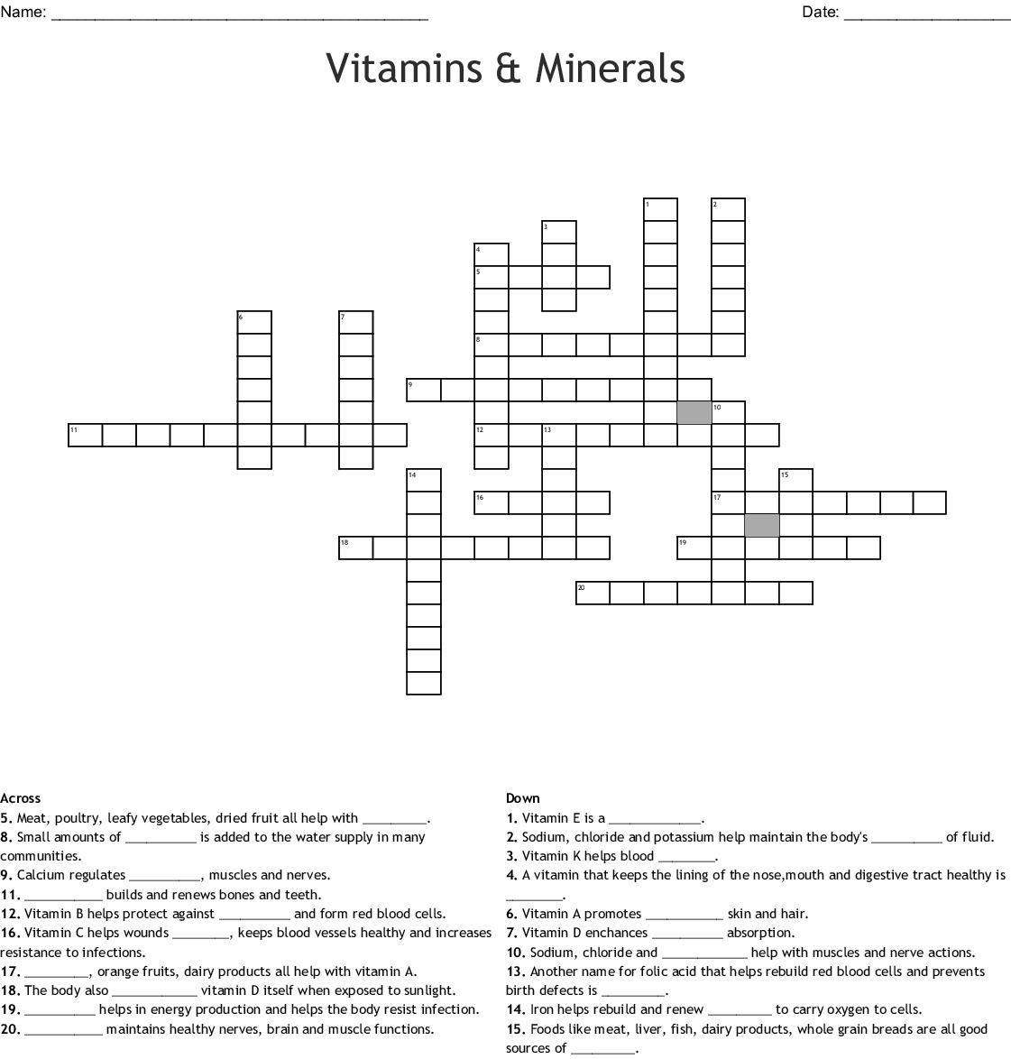 Vitamins & Minerals Crossword - WordMint