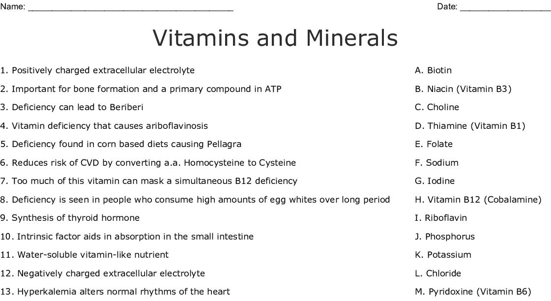 Vitamins and Minerals Worksheet - WordMint