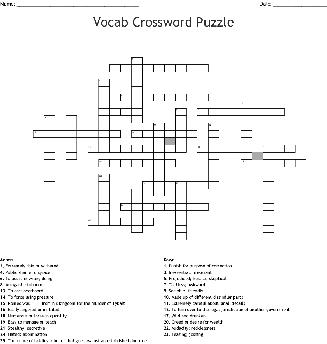 Vocab Crossword Puzzle Wordmint