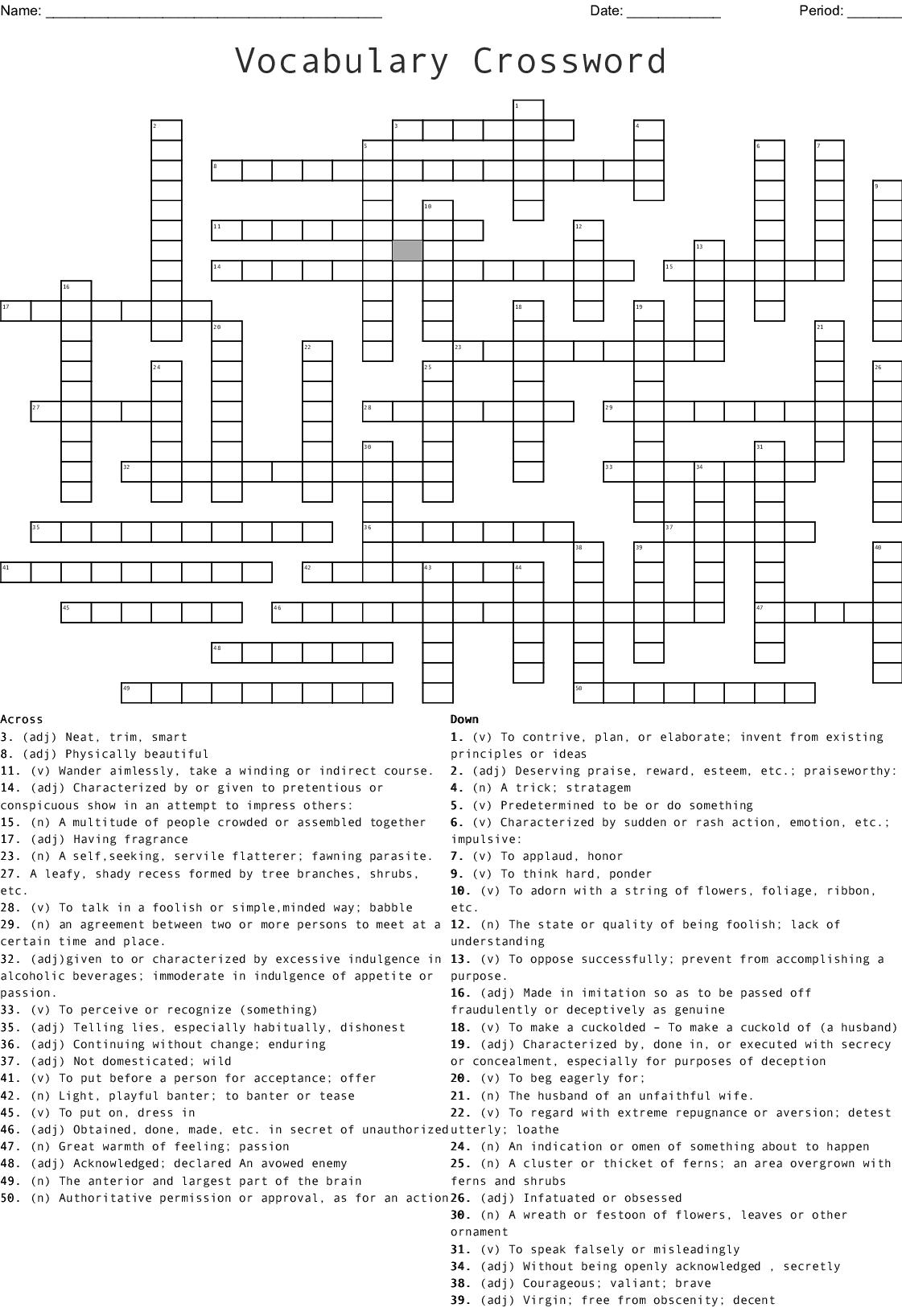 50 Word Crossword Puzzle Wordmint