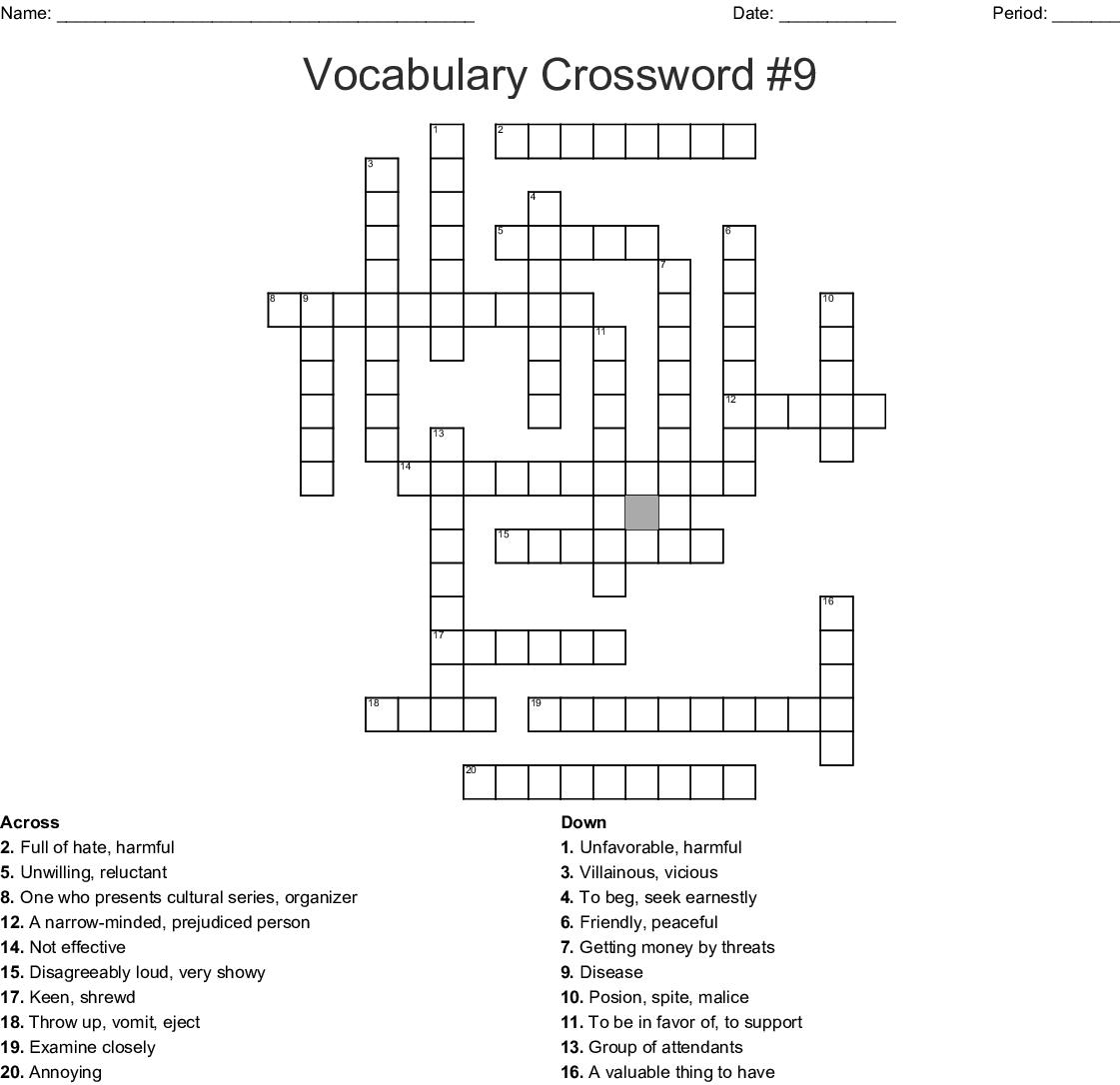 Vocabulary Crossword 9 Wordmint