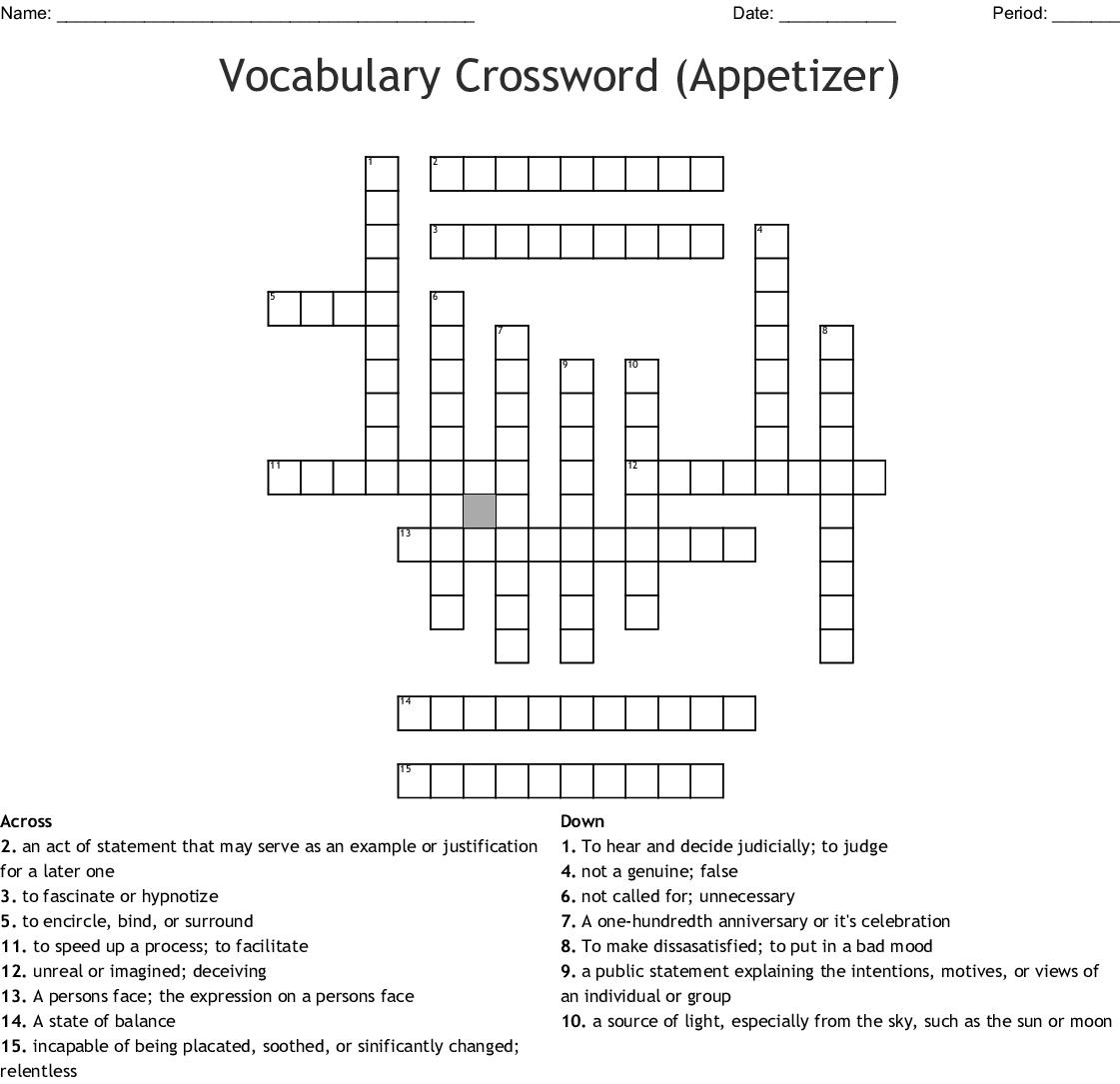 Similar to Crossword Puzzle (Appetizer) - WordMint