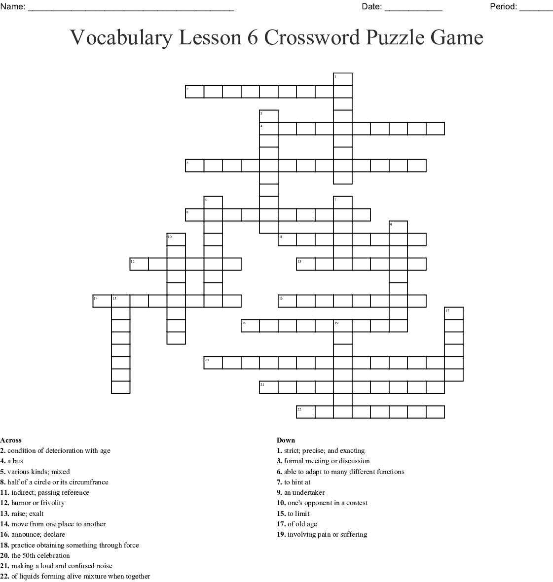 Vocabulary Lesson 6 Crossword Puzzle Game Wordmint