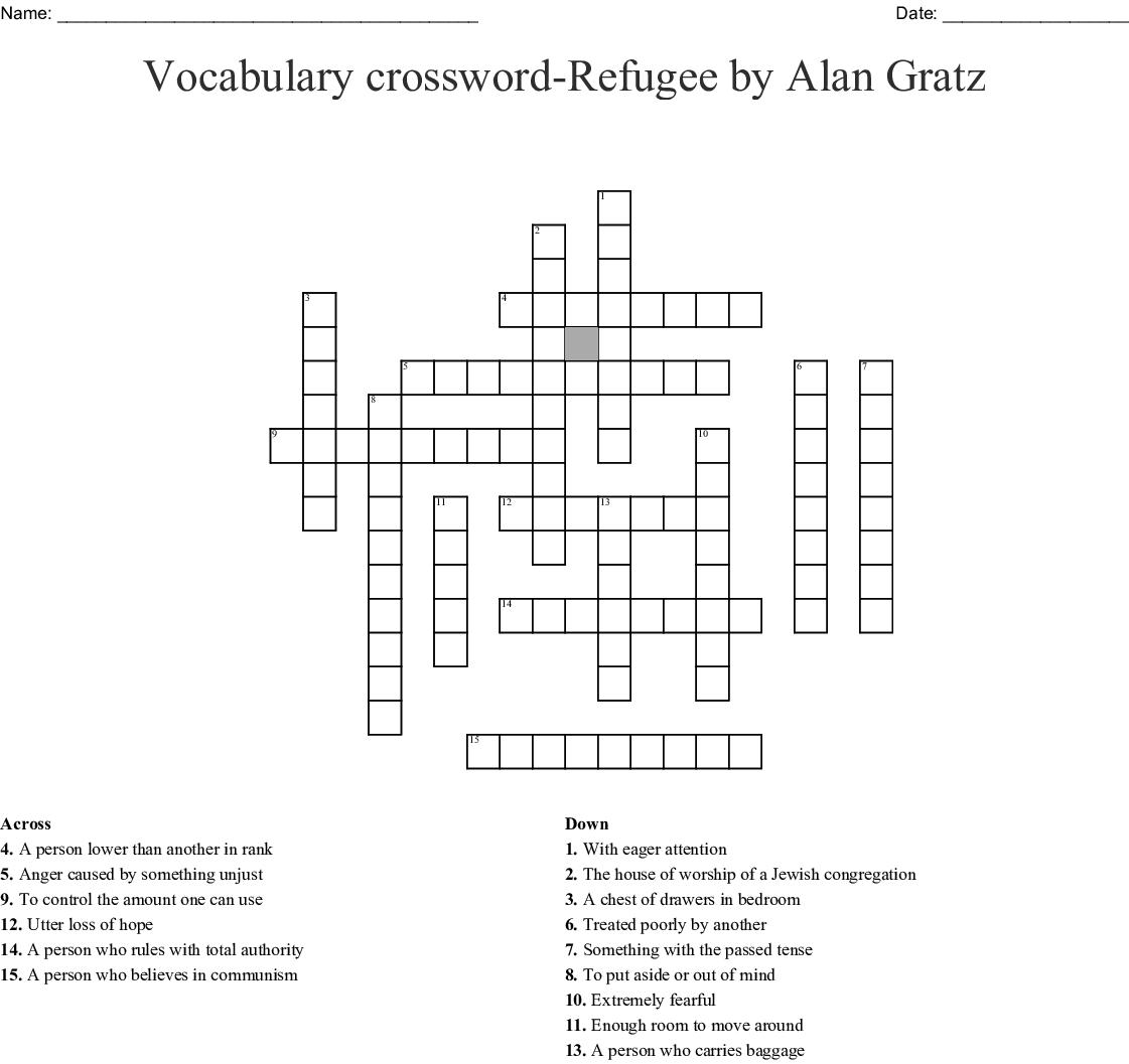 Vocabulary Crossword Refugee By Alan Gratz Wordmint