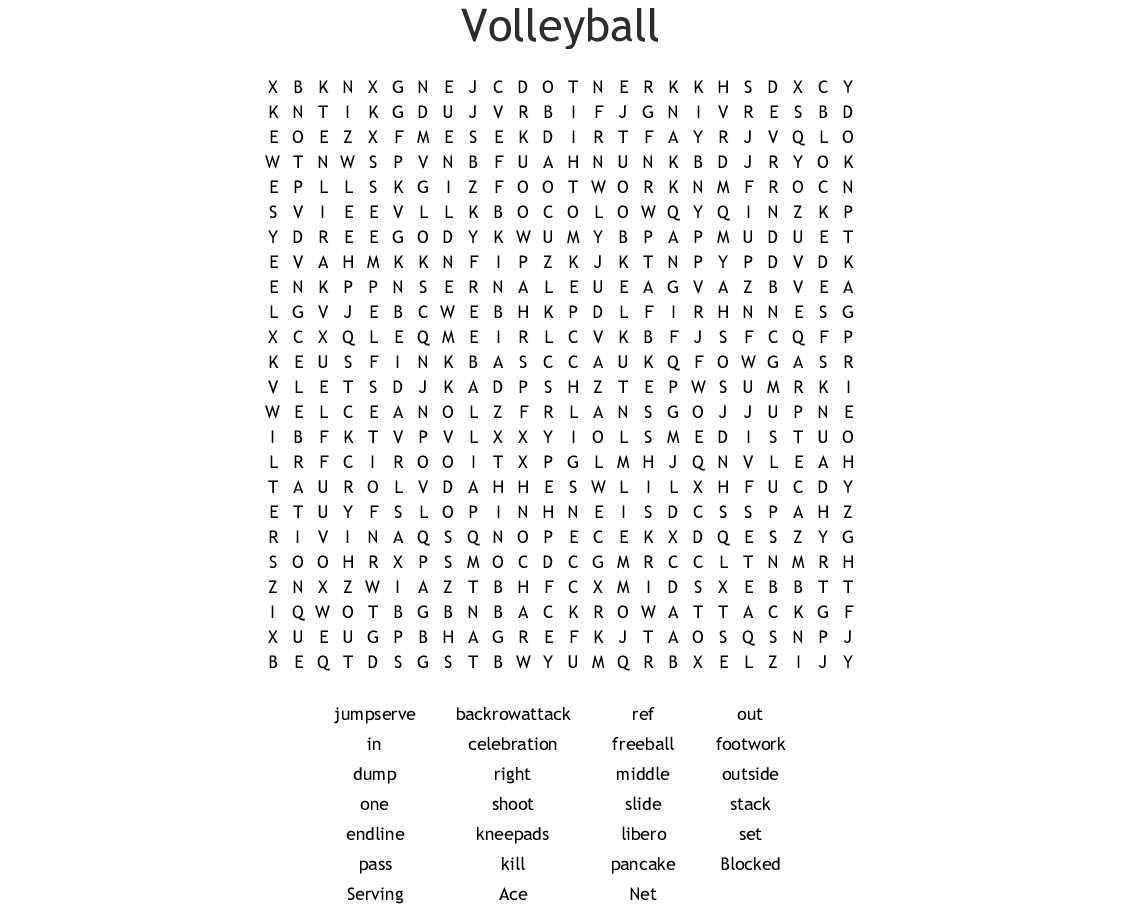 volleyball crosswords  word searches  bingo cards