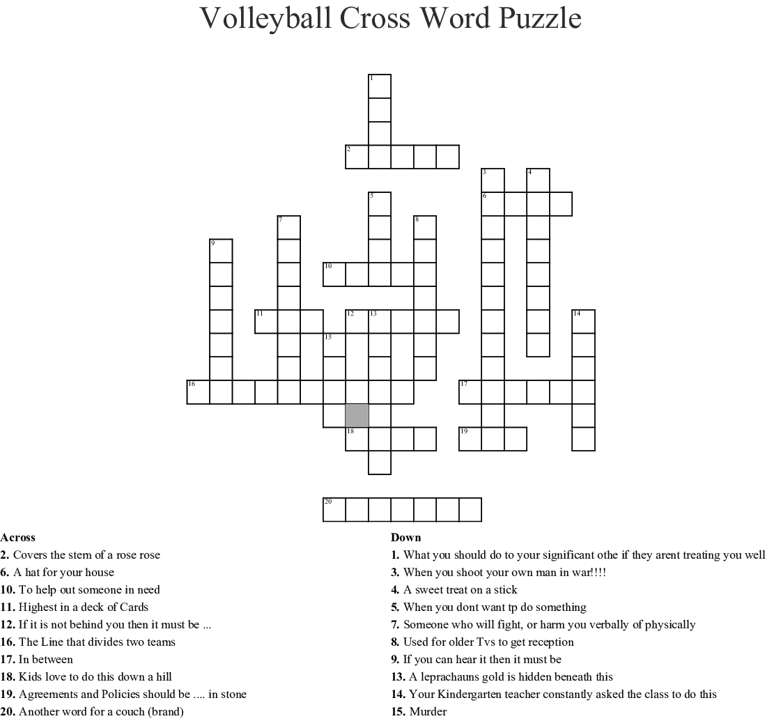 Volleyball Cross Word Puzzle - WordMint