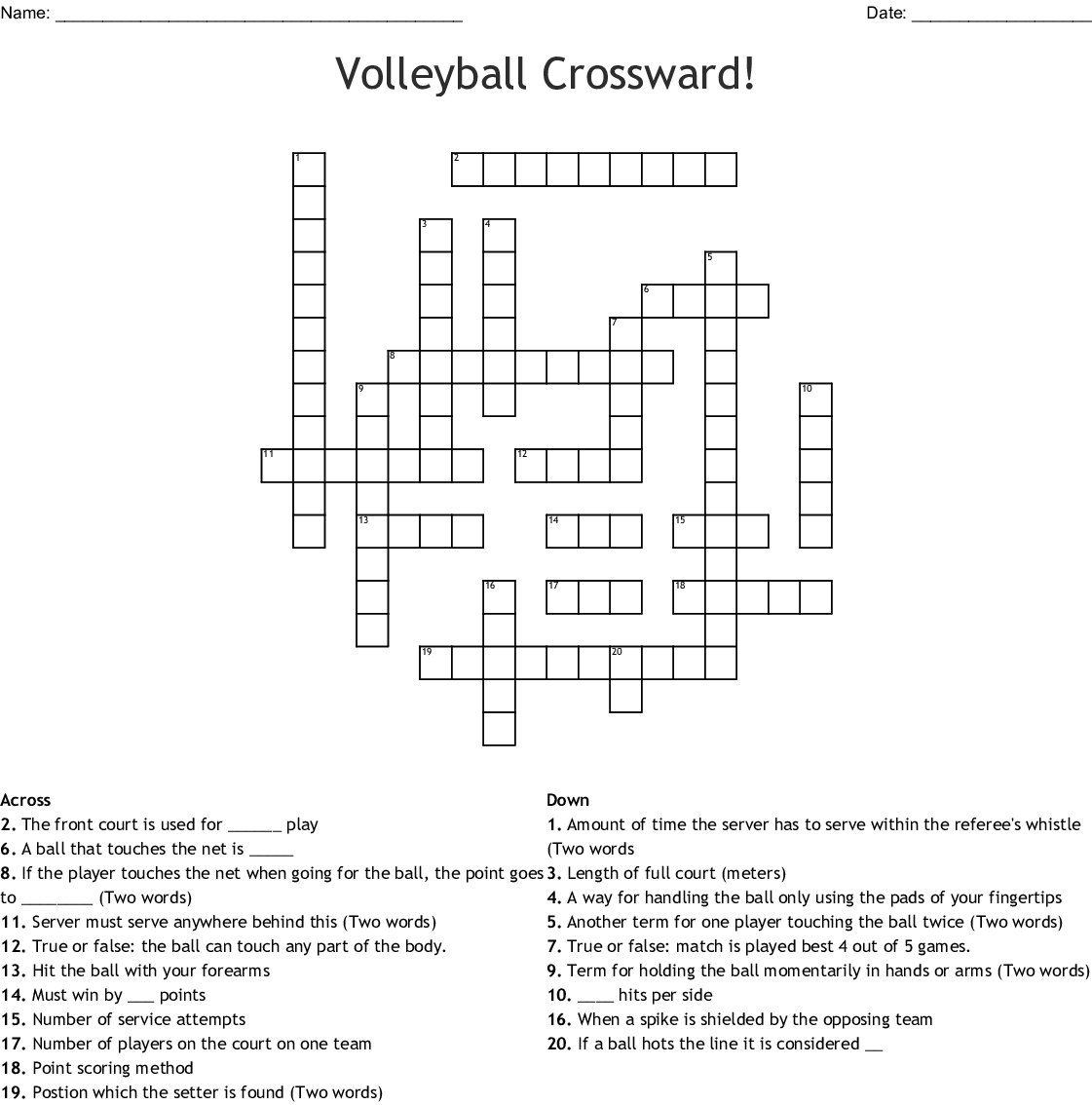 Volleyball Crossward Crossword Wordmint