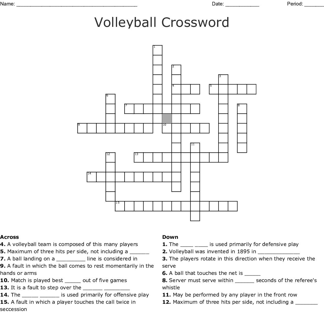 Volleyball Crossword Wordmint