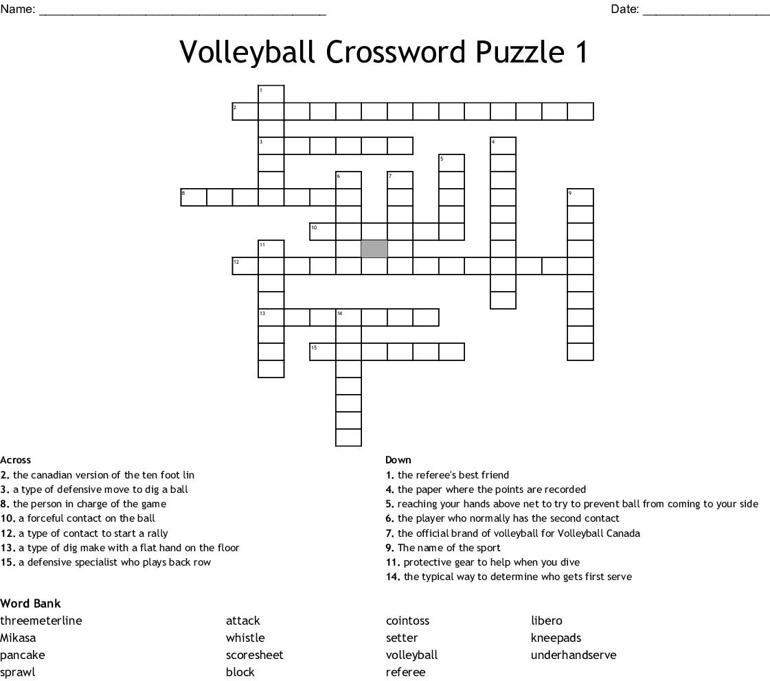 Volleyball Crossword Puzzle 1 Wordmint