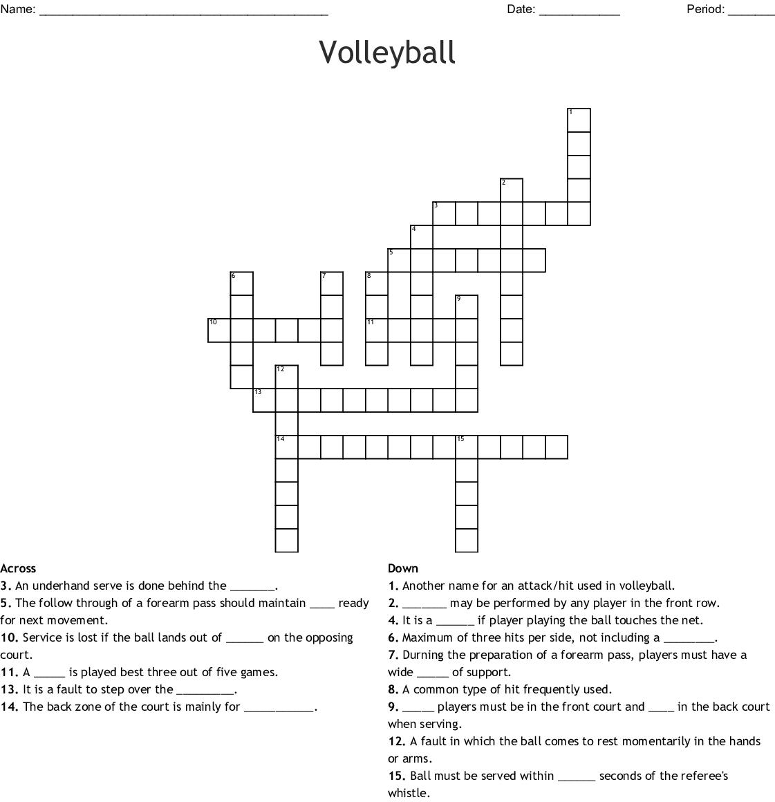 Volleyball Crossword Puzzle Wordmint
