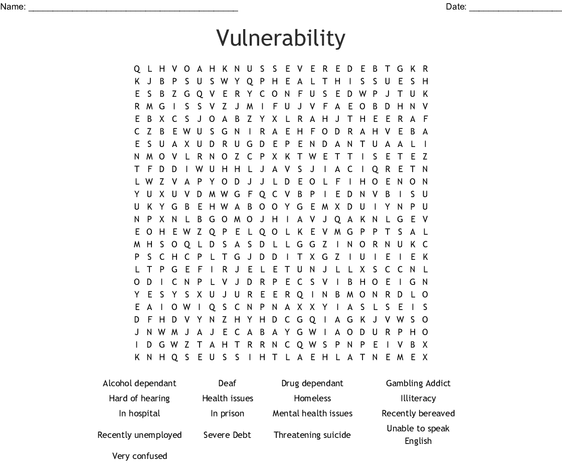 Vulnerability Word Search Wordmint